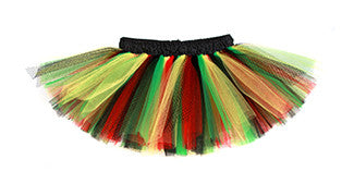 Rasta Red, Green, Black, & Yellow Deluxe Tutu w/ Black Satin Waistband