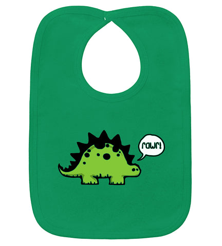 Rawr Dinosaur Kelly Green Bib