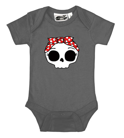 Rockabilly Bandana Skull Charcoal Gray One Piece
