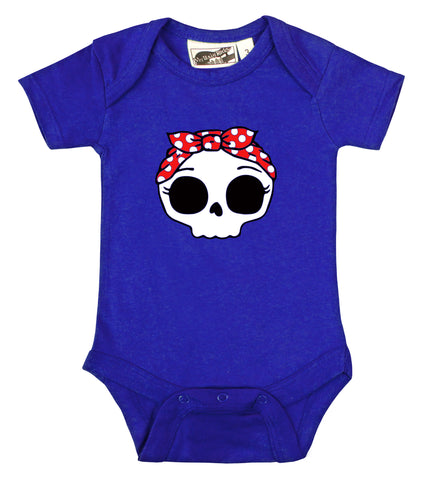 Rockabilly Bandana Skull Royal Blue One Piece