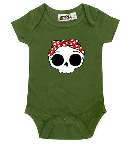 Rockabilly Bandana Skull Olive Green One Piece