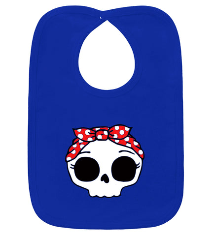 Rockabilly Bandana Skull Royal Blue Bib