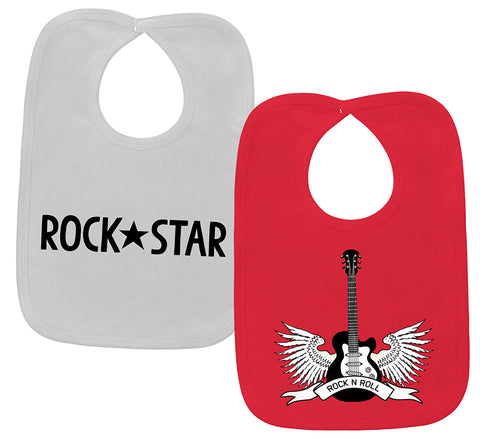 Rockstar & Winged Guitar 2 Bib Gift Set
