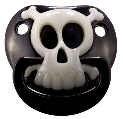 Black Pirate Skull Glow in the Dark Pacifier
