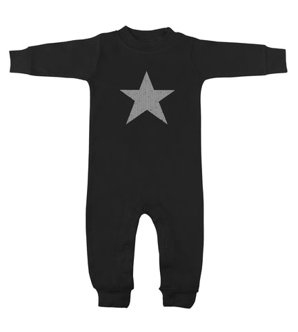 Star Black Long Sleeve Romper