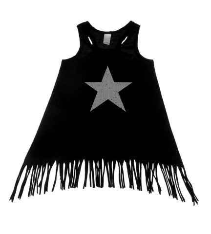Star Black Tank Top Fringe Dress