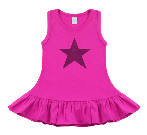 Star Hot Pink & Black Sleeveless Dress