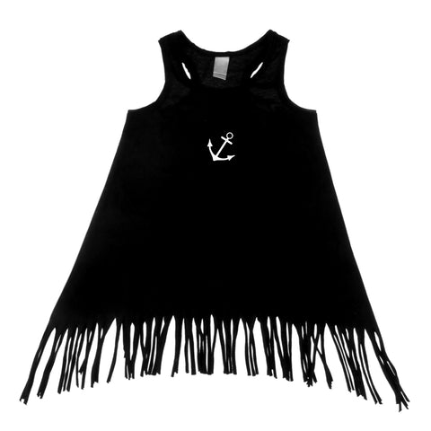 Tiny Anchor Black Tank Top Fringe Dress