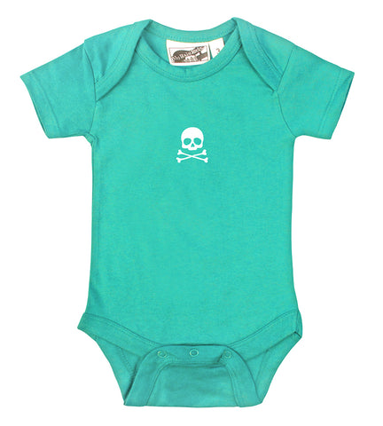 Tiny Skull & Crossbones Aqua & White One Piece