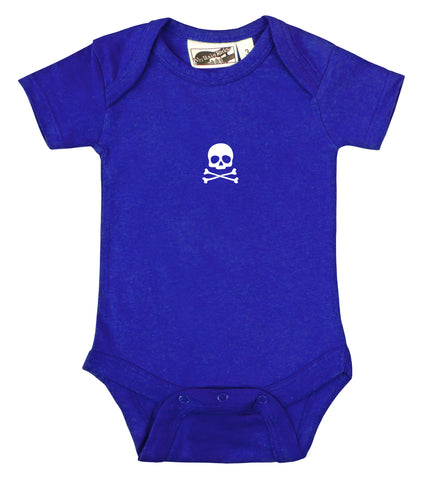 Tiny Skull & Crossbones Royal Blue & White One Piece