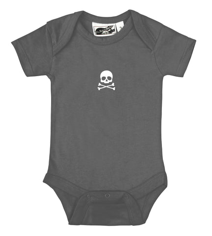 Tiny Skull & Crossbones Charcoal Gray & White One Piece