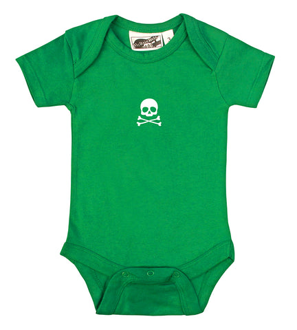 Tiny Skull & Crossbones Kelly Green & White One Piece