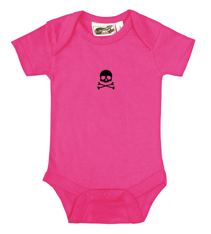 Tiny Skull & Crossbones Hot Pink & Black One Piece