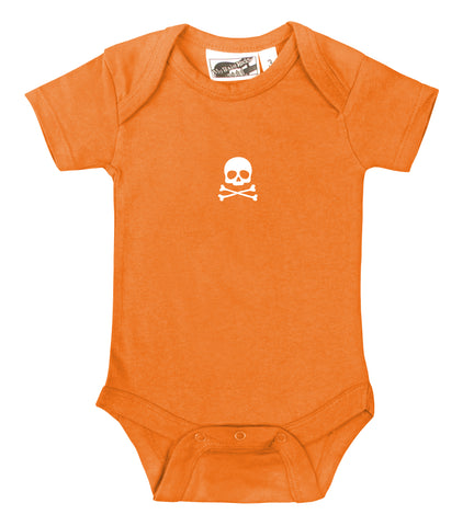 Tiny Skull & Crossbones Orange & White One Piece
