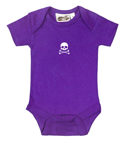 Tiny Skull & Crossbones Purple & White One Piece