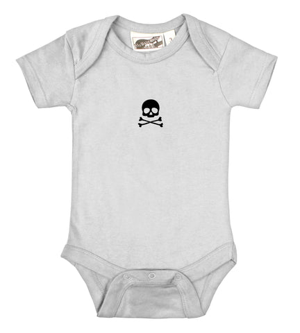 Tiny Skull & Crossbones White & Black One Piece