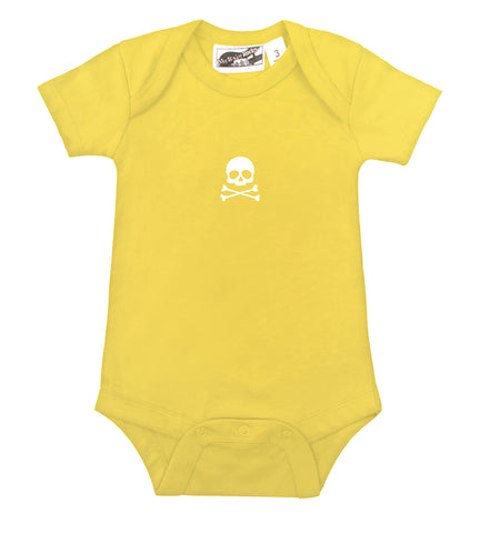 Tiny Skull & Crossbones Yellow & White One Piece