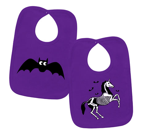 Unicorn Skeleton & Bat Purple 2 Piece Bib Gift Set