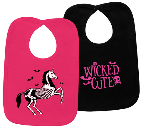 Hot Pink Wicked Cute & Black Unicorn Skeleton 2 Piece Bib Set