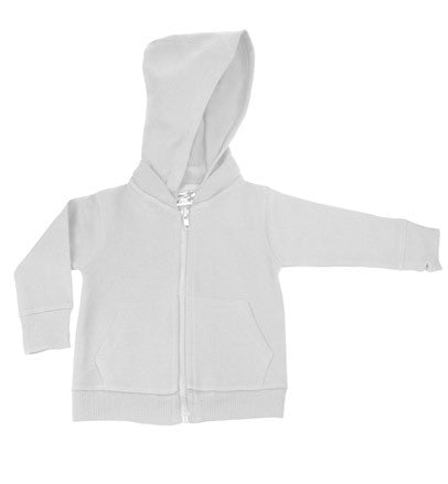 White Signature Zip Up Hoodie w/ Detachable Hood