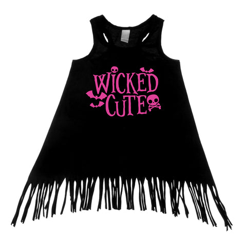 Wicked Cute Black Tank Top Fringe Dress