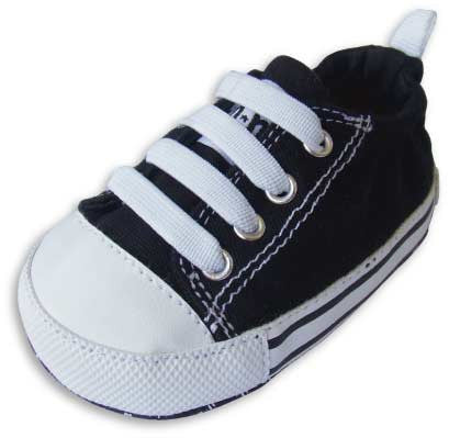 Charlie Classic Black Canvas Shoes : Black/White