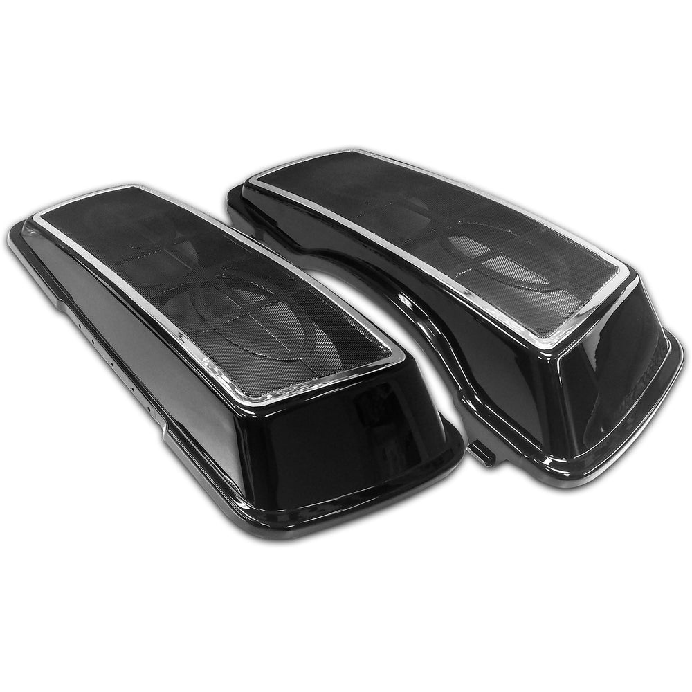 "Bagger Brothers Dual 6""x9"" Speaker Lids with Metal Grill for 1996-2013 Harley-Davidson® Touring Models - Chrome Trim"