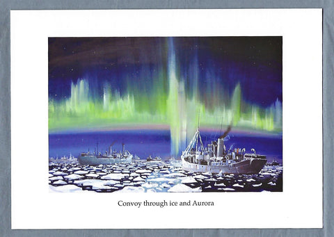 Convoy through Ice and Aurora Christmas Card