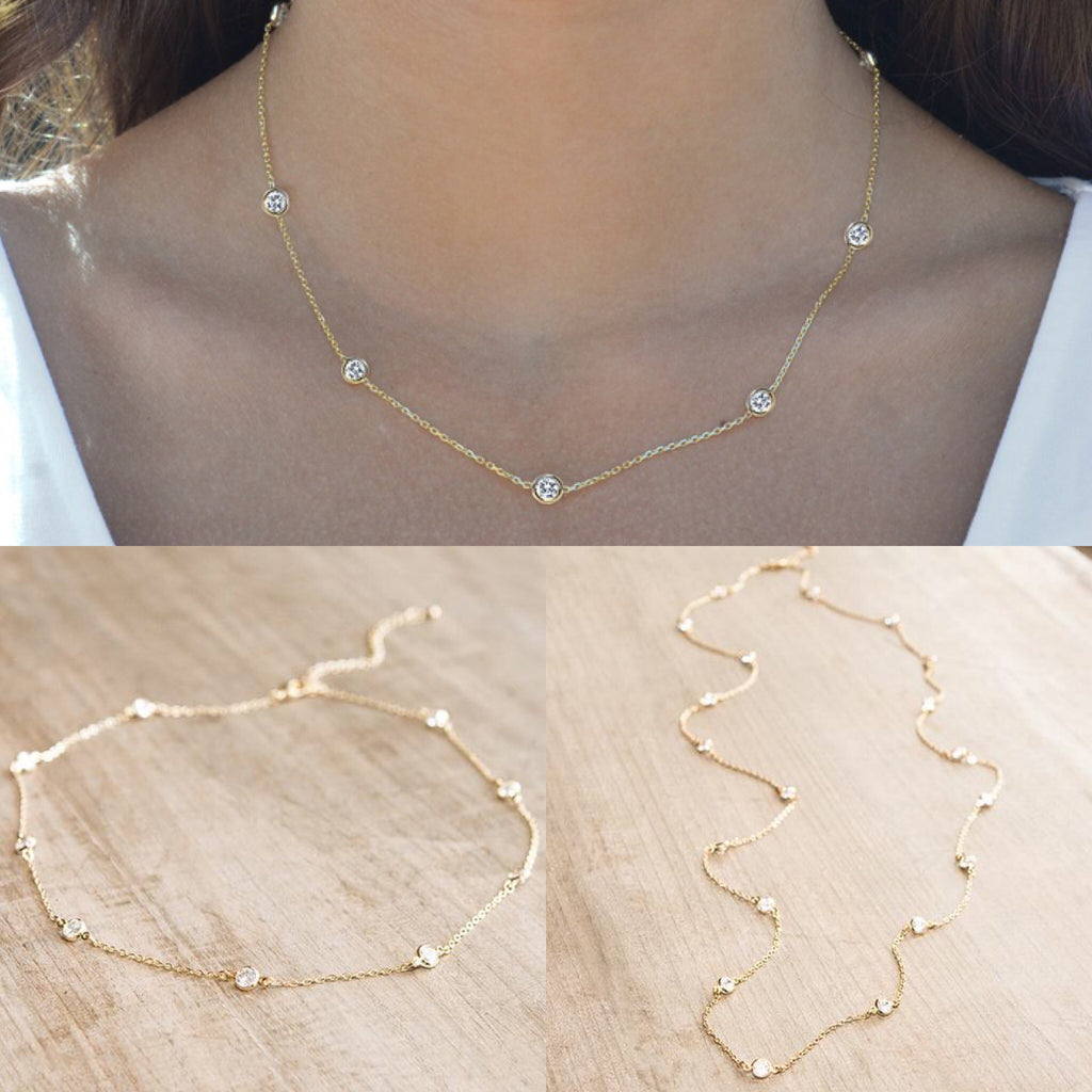 Crystal Eternity Necklace Short Gold