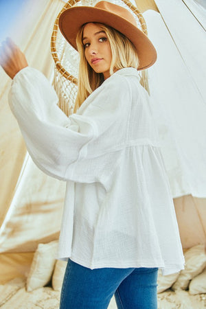 Baby Doll Gauze Top Ivory