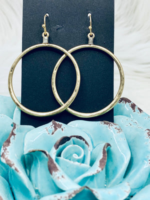 Two Tone Dangle Hoop Gold or Silver