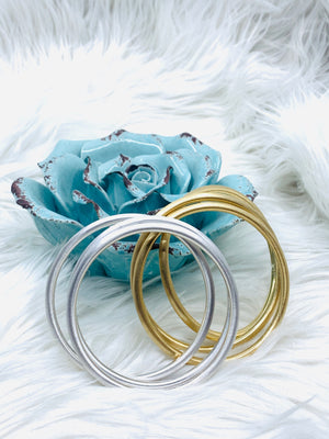 Brushed Tubular Bangle Bracelet Thin Set of 3