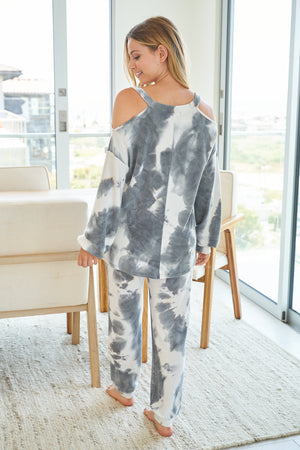 Soft & Comfy off the Shoulder Lounge Set Gray