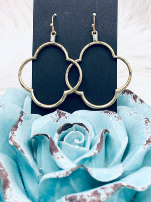Two Tone Dangle Clover Gold or Silver