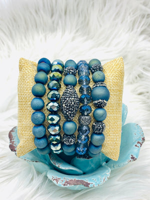 Natural Stones & Crystal Stretch Bracelets 5 Strands Peacock