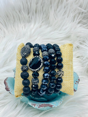 Natural Stones & Crystal Stretch Bracelets 5 Strands Black