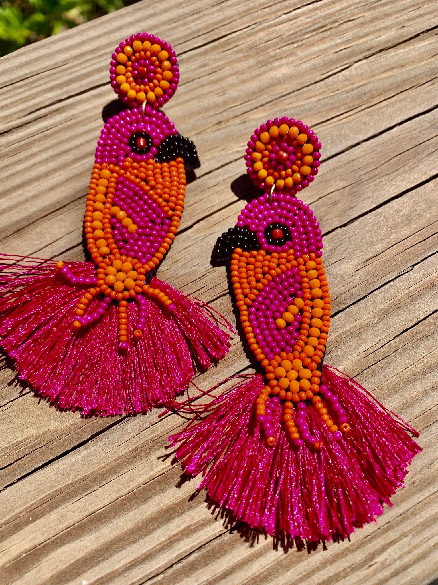 Parrot Beaded Ear Ring Fuchsia Orange