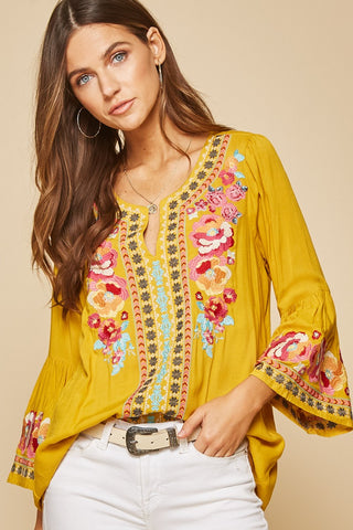 Santa Rosa Sunrise Embroidered Bell Sleeve Tunic Top Small-3X