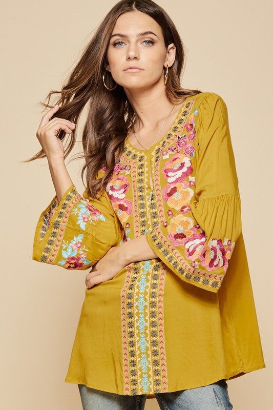 Marigold Bell Sleeve Embroidered Tunic