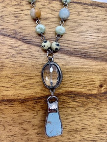 Stone and Crystal Pendant Necklace Short