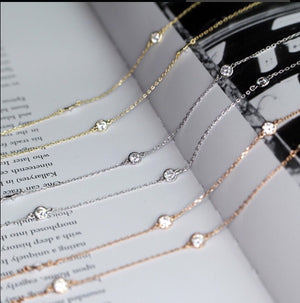 Crystal Eternity Necklace Long Silver
