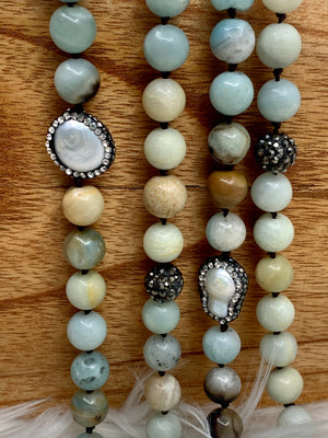 Natural Semi Precious Stone, Marcasite and Pearl Necklace