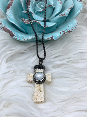 Stone and Pearl Cross with Marcasites