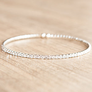 Flexible Swarovski Crystal Bracelet Clear Silver