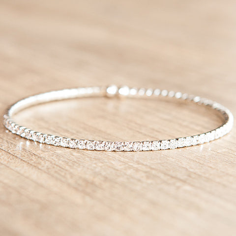 Flexible Swarovski Crystal Bracelet Clear Gold