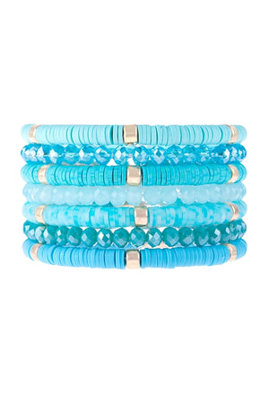7 Strand Disc Beads Stretch Bracelet Set-Turquoise