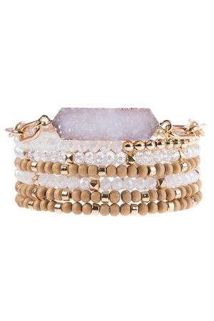 7 Strand Druzy Stacked Bracelet Set White