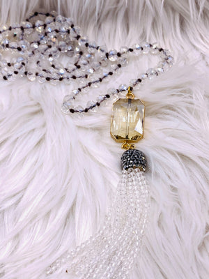Crystal Bead Crystal Medallion Tassel Necklace Clear