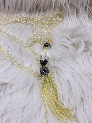 Crystal Bead Crystal Medallion Tassel Necklace Off White