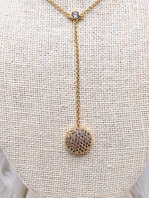 CZ Dangeling Disc Petite Necklace Gold or Silver